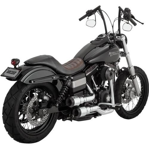 Vance & Hines Hi-Output Grenades 2-Into-2 Exhaust - Chrome/Black Motorcycle Street - 16896