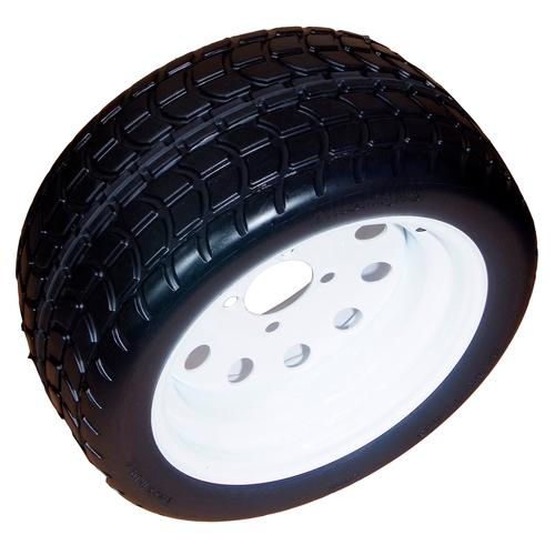 Amerityre Turf Tread Wheel/Tire Assembly 18-8.50-12 White Hub 5 on 4.5 Solid Flat Free Golf Cart Tire