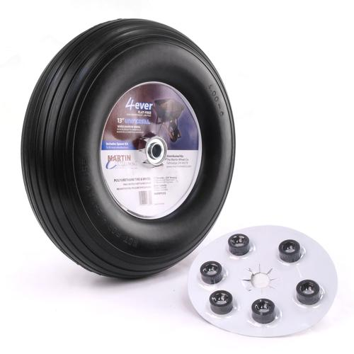 "Kenda Flat Free Rib 3.25"" Hub And No Bearing 13-5.00-6 Wheel/Tire Assembly Yard - Lawn Tire"