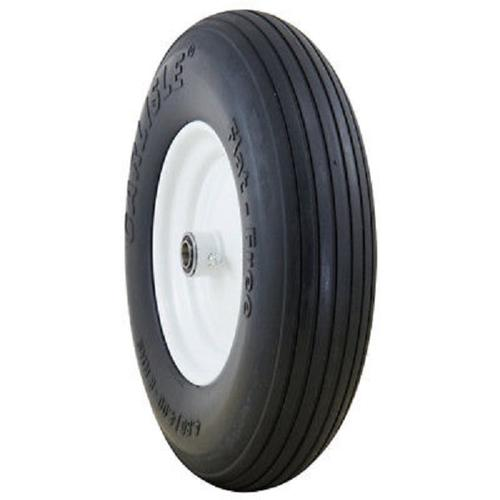 "Carlisle Ribbed Flat Free Solid 4.00-6 Centered Hub 3"", OD 13.2"" Width 3.2"" Wheel/Tire Assembly Yard - Lawn Tire"