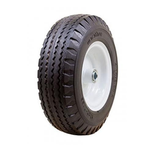 "Carlisle Sawtooth Flat Free Solid 4.10-4 Offset Hub 2.25"", OD 10.3"" 3.3"" Width Wheel/Tire Assembly Yard - Lawn Tire"