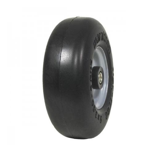 "Carlisle Smooth Flat Free Solid 9-3.50-4, Centered Hub 4"", OD 9.2"", 3.3"" Width Wheel/Tire Assembly Yard - Lawn Tire"