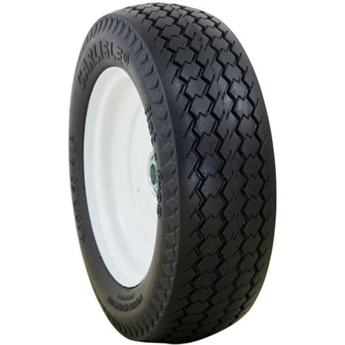 "Carlisle Turf Tread Flat Free Solid 15-6.50-6, Centered Hub HL 3"", OD 13.8"", 6.3"" Width, 3/4"" Bushing Wheel/Tire Assembly Yard - Lawn Tire"